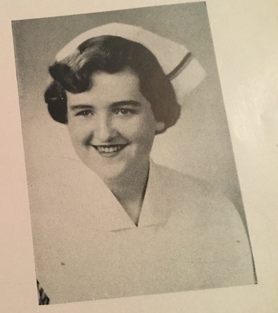 HelenMarie Dolton, in her nursing cap, in the 1953 School of Nursing yearbook.