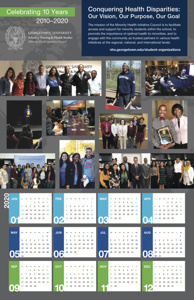 A 2020 calendar features photographs of students in various settings. The calendar celebrates the Minority Health Initiative Council's 10th anniversary.