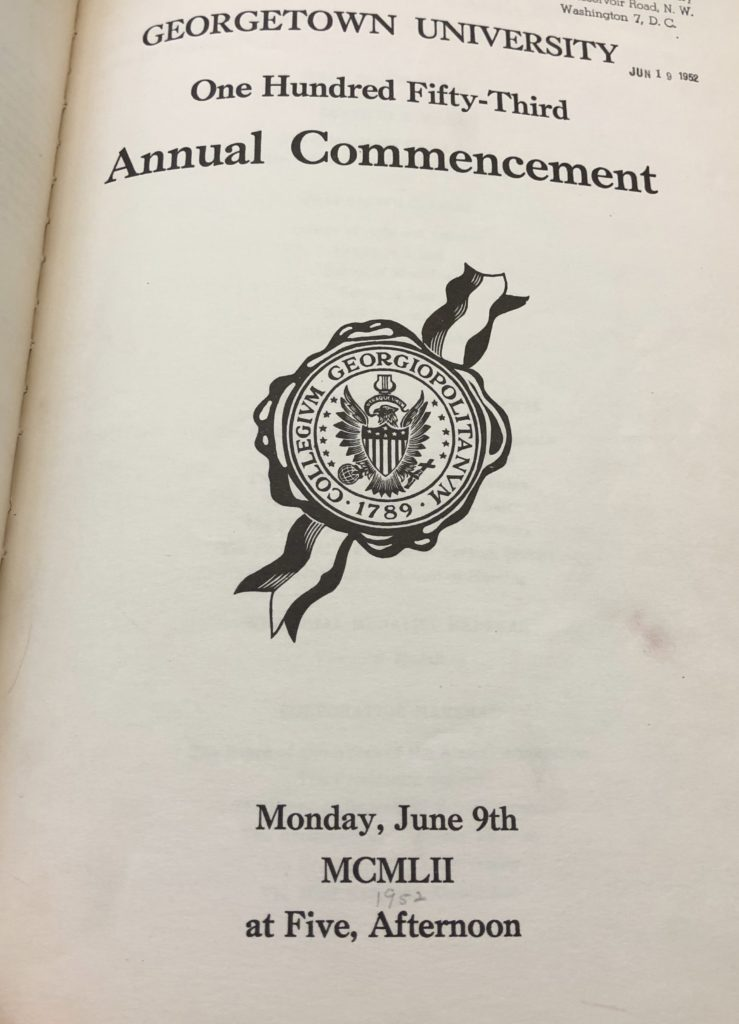 An image of the cover of program for the 153rd annual commencement of Georgetown University, which was held June 9, 1952 at 5 PM.