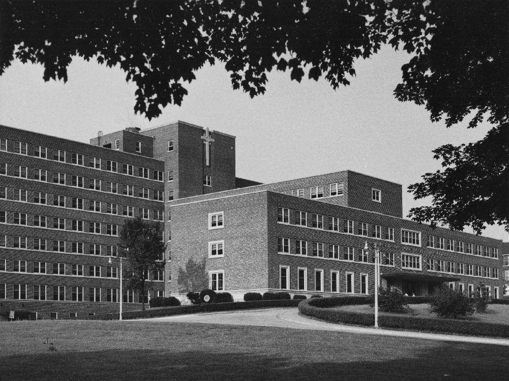 An image of the exterior of Georgetown University Hospital in 1950 (Courtesy Digital Georgetown, Bob Young Jr., Georgetown University Archives)