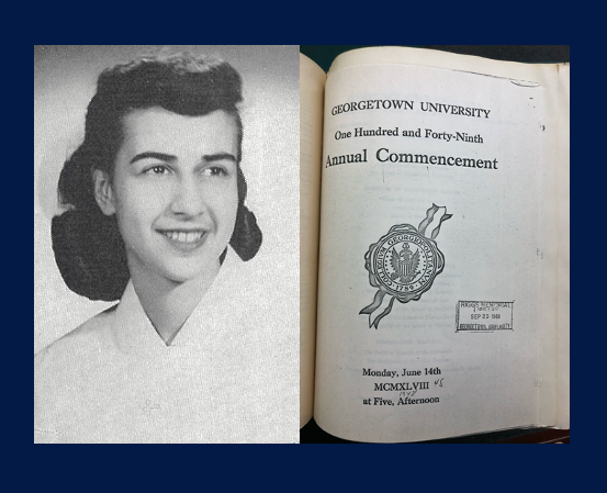 A photo of Bruce from the 1948 Caduceus yearbook and the cover of the 1948 Georgetown University Commencement program
