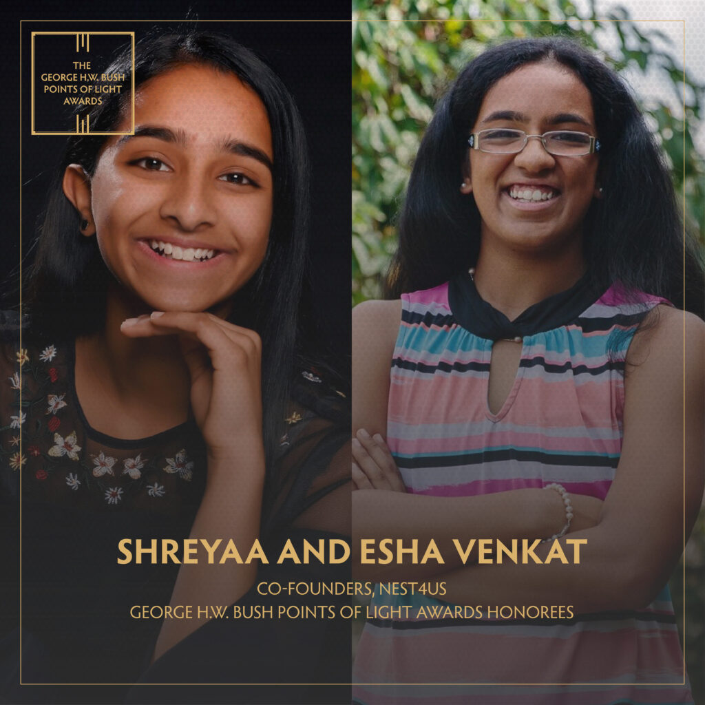 Esha and Shreyaa Venkatt in a photo collage with a Point of Light logo
