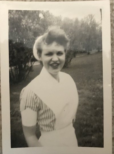 Mary Anne (Maryman) Curtis in a black and white photo in her student nurse's uniform.