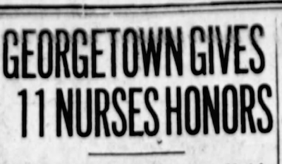 """The headline in the June 2, 1920 issue of the Washington Times. It reads, """"Georgetown Gives 11 Nurses Honors."""""""