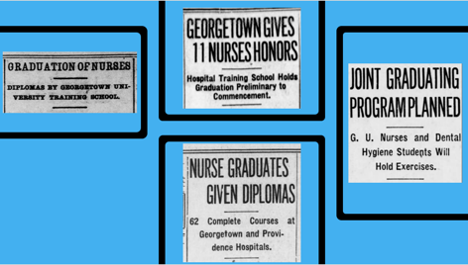 Newspaper headlines from four GU graduations for diploma students, including the first in 1906. Clockwise from left: June 13, 1906 Evening Star, June 2, 1920 Washington Times, June 3, 1934 Sunday Star, and June 2, 1933 Evening Star – all via Newspapers.com.